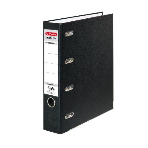 Preisvergleich Produktbild Herlitz 10842250 Doppelordner maX.file protect A4, Farbe schwarz, FSC Mixed