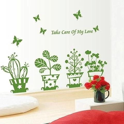 Camera da letto Soggiorno semplice vaso Verde Foglia di acero adesivo parete ingresso linea di cintura Adesivi decorativi pastorale in stile Europeo, amore piccola pianta in vaso, 85 * 50cm(1*3pcs)