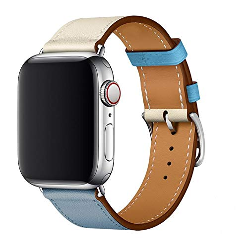 WFEAGL Strap Compatible for Watch 42mm 44mm Strap,Top Grain Leather Band Replacement Strap with Stainless Steel Clasp for Watch Series 4/3/2/1 (42mm 44mm,LightBlueIvory+Silver Square Buckle)