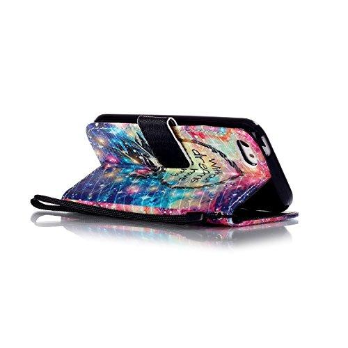 Hülle für Apple iPhone 5 5S SE - Yihya PU Leder Schutzhülle Handyhülle Magnetic Closure Style Flip Wallet [Stand Function] Cover Case mit Cards Slots und Lanyard Strap + Stylus Pen--Stil 09 Stil 23