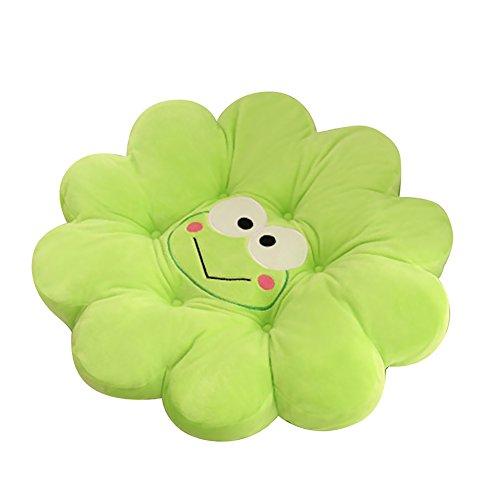 EQLEF Grüne Karikatur Baumwolltier-Blumen-Hauptkissen-Frosch-Netter Auflage-angefüllter Plüsch-Dekor der bequemen Sitzkissen (Grün)