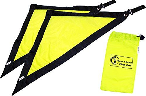 FLAG POI AKA Rhythm Flag - Stoff Poi Set (Schwarz/Gelb) Flames N Games Für Kinder und Erwachsene Poi. Swinging Poi und Spinning Pois! Pois für Anfänger und Profis. (Schwarz N Gelb)