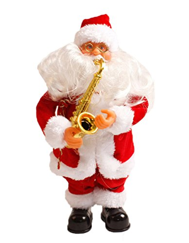 Uleade Père Noël chantant Automate Père Noël décoration musical Décor classique Cadeau (Saxophone)