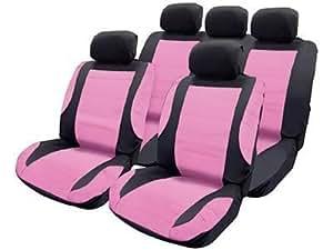 Think Pink Housses de voiture avec coussinets pour harnais et housses de volant de qualité en cuir Rose Aspect Girly