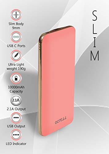 Octell Ultra Slim PowerBank 10000 mAh Portable Charger Lightweight External Battery with Micro and Type-C input Charging port for iPhone X/8/7/6/Plus/5/SE, iPad, Samsung, LG, Google Pixel, More (PINK)