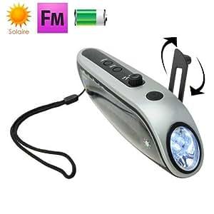 Mini lampe torche dynamo LED panneau solaire radio FM batterie externe