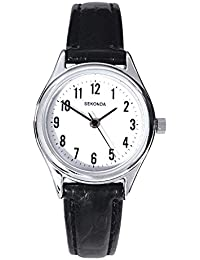 Sekonda Women's Quartz Watch with White Dial Analogue Display and Black Leather Strap 4491.27