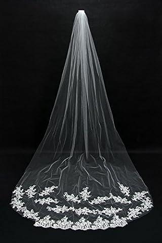 Erica Elegante Brautschleier Brautschleier 3 Meter langen Reihen der Blume handgemachte Spitze applique langen Schwanz Kathedrale Schleier + Kamm Rand , white , 3m