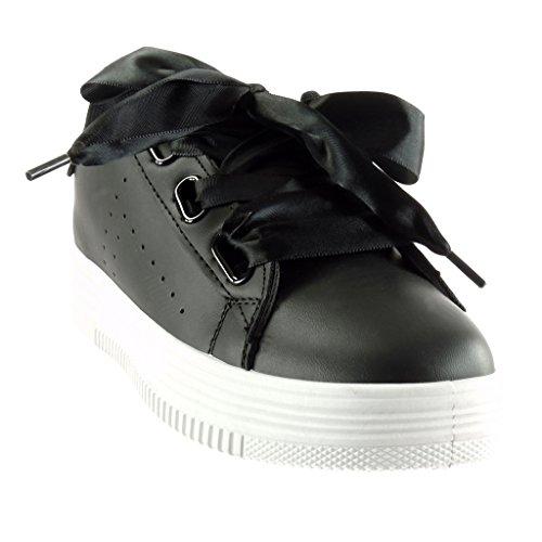 Angkorly - Scarpe da Moda Sneaker zeppe donna Lacci in raso lucide perforato Tacco tacco piatto 3.5 CM Nero