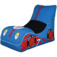 GAX Super Bean Bag Racing Car - Medium Size Polyester Fabric Cover | Water Resistant | Fun Design | Indoor and Outdoor | Pouffe Waterproof Inflatable Seat (Blue)