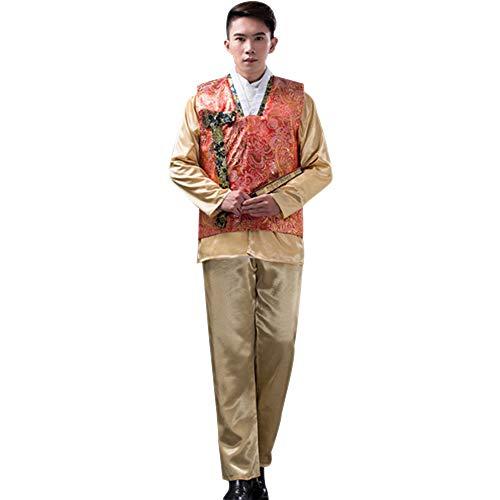 BOZEVON Herren Koreanischer Traditionelle Kleider - Langarm Top + Hosen für Hochzeit Party, Style 2, One ()