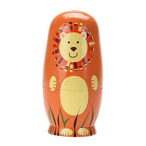 xMxDESiZ 5 Stücke Nette Holz Cartoon Tier Russische Verschachtelung Puppen Spielzeug Kinder Geschenk Wohnkultur (Verschachtelungs-puppen)