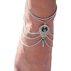 Memphis Reans Damen Fußkette Mode Herz Knöchel Armband Kette Beach Fuß Sandale Schmuck (Nr. 42 - 51) (045)