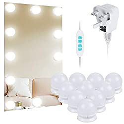 Anpro 3m LED Vanity Mirror Lights Kit, Makeup Lights with 10 Dimmable Light Bulbs, Three Light Color Modes can be Adjusted, Perfect for Makeup Mirrors, Bathroom Lighting (Mirrors are not Included)