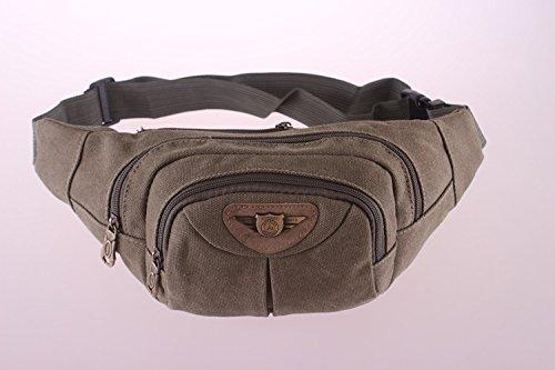 ZYT Weiche Taschen im Freizeit-Sport- und Freizeittaschen Leinwand Reißverschluss Volltonfarbe Geldbörsen für Männer army green