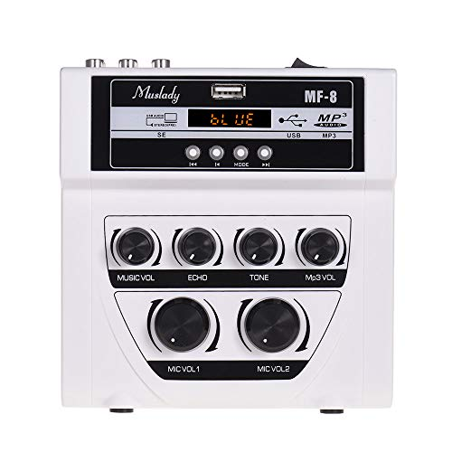 Muslady Mischpulte Mini-Karaoke Sound Audio Mixer Stereo Echo Mischer Doppelmikrofon Eingänge Unterstützung BT Aufnahme MP3-Funktion zum TV PC Smartphone Verstärker MF-8