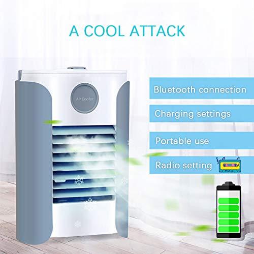 Mobile Air Cooler Luftkühler, Tragbare USB Mobile klimageräte Mit Bluetooth Musikwiedergabe, Lufterfrischer - Tragbare Kühler 3 Lüftergeschwindigkeiten für Home Office Auto im Freien Mobile Usb Bluetooth