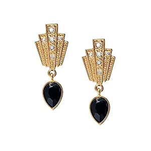 Cristalina Gatsby 24ct Gold Plated Jet Art Deco Style Hook Earrings with Antique Finish 3.4cm Long HdrNQW