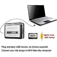 RENNICOCO Protable Reproductor de Cassettes USB de Cinta coverter a MP3 Compatible con Ordenadores portátiles Dispositivo de Captura de Audio