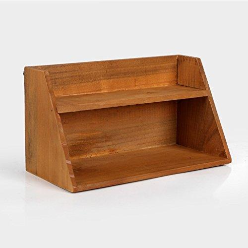 ZWL Retro-Aufbewahrungsschränke, kreativ machen die alte solide Holz-Studie Wohnzimmer Home zwei Ebenen Wand montiert Display Schrank Debris Desktop-Aufbewahrungsbox 29.8cm * 14.5cm * 16.5cm Fashion. z ( Farbe : A )