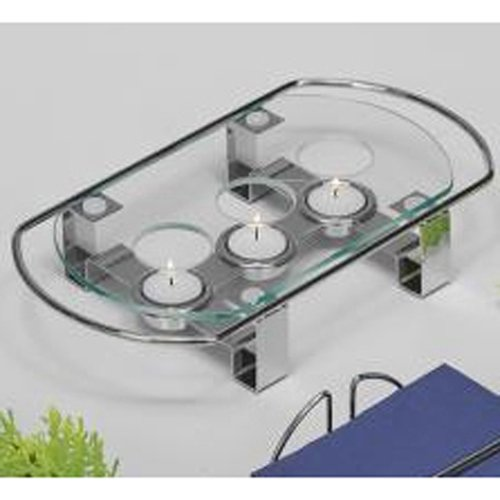 APS 35065 Speisenwärmer, 3-flammig 34 x 18cm, H: 6cm, Metall verchromt Glasplatte