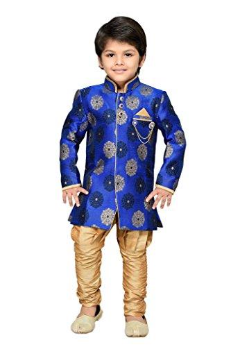 AJ Dezines Boys Indo Western Sherwani Suit for Kids (7001_BLUE_6)