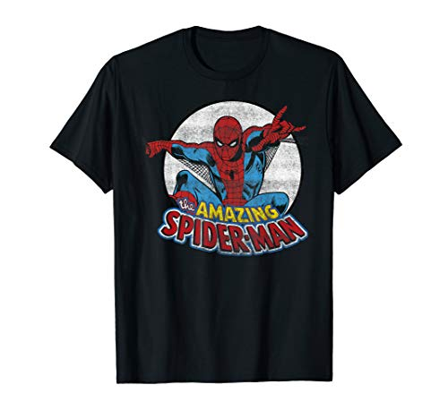 Marvel Amazing Spider-Man Retro Vintage Graphic  T-Shirt - Shirt Spiderman Vintage