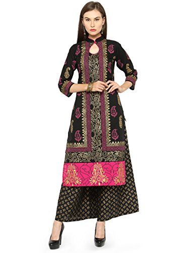 Aadhunik Libaas Women's Black Block Print Straight Cotton Kurti 3/4 sleeves