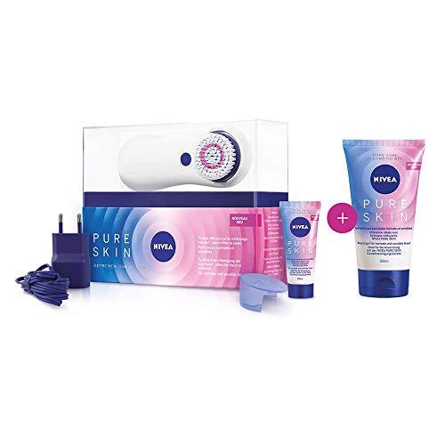 NIVEA PURE SKIN elektrische Gesichtsreinigungsbürste Set bestehend aus Starter Kit und Nivea Pure Skin Gel (1 x 150ml), Gesichtsbürste, Reinigungsbürste für Gesicht