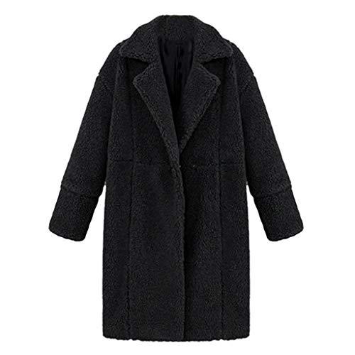 Lazzboy Damen Winter Mantel Tasche Lange Teddy-Fleece Revers Plüsch Jacke Parka(Schwarz,S) Fleece-lightweight-parka
