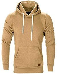 e34afe63083 Men Hoodies TUDUZ Men s Plain Long Sleeve Casual Hooded Sweatshirt Top  Autumn Winter Casual