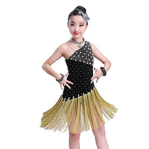 Asdflina-Kinder tanzen Kleid Flapper-Satin-Kostüm für Mädchen Tanzbekleidung für besondere Anlässe (Farbe : Schwarz, Größe : 130cm)