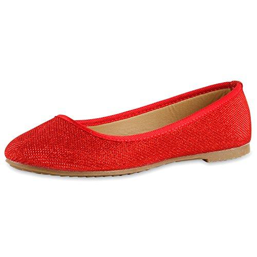Klassische Damen Ballerinas Lederoptik Basic Freizeit Schuhe Gr. 36-44, Rot Rot Glitzer, 39 EU (Rote Ballerinas Glitzer)