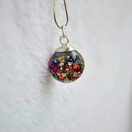 Mehrfarbige Schatz Insel Mineralische Glühen im Dunkeln Glas Kugel 925 Sterling Silber Schlange Ketten Halskette 45cm Länge