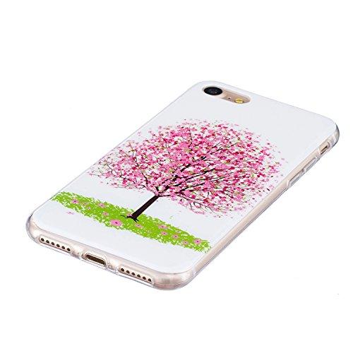 iPhone 7 4.7 Pollice Custodia in Silicone Paraurti flessibile Casso Protettiva in TPU Copertura Pelle Shell per Apple iPhone 7 4.7 case con unico Colorato Design Elegante Modello Stampato, Feeltech  Albero di ciliegio rosa