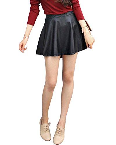 Mujeres Faldas Negra Cortas De PU Cuero Plisada Minifalda Elegantes Negro S