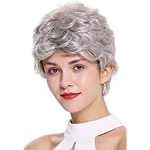 WIG ME UP ® - DW2339-51 Peluca mujer hombre corto ligeramente ondulado gris plata