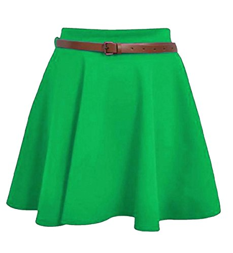 Islander Fashions Womens Belted Mini Skater Gonna Ladies Plain Flared Skater Swing Party Skirt Piccolo / XX-Large Jade Green