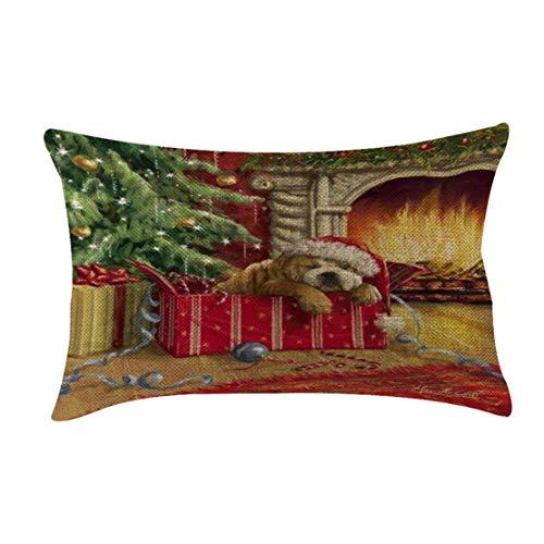 Happy Event Christmas Weihnachten Leinen Kissenhülle   Weicher Dekorative Kissen   Kissenbezüge Set für Sofa Schlafzimmer Auto   Throw Pillowcase Cushion Cover Decor (H)