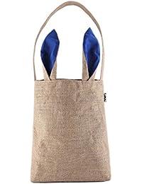Navy Blue (Jute) : Easter Bunny Bags,PJS-MAX Dual Layer Bunny Ears Design Jute Cloth Material Tote Bag Carrying...