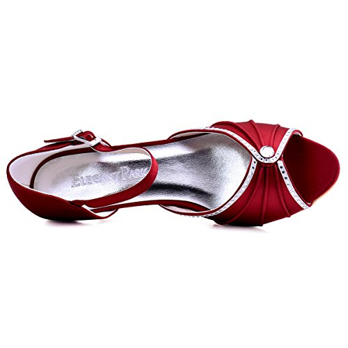 ElegantPark HP1623 Escarpins Satin Bout ouvert Diamant Talon Bas Sandales chaussures de mariee bal Bourgogne