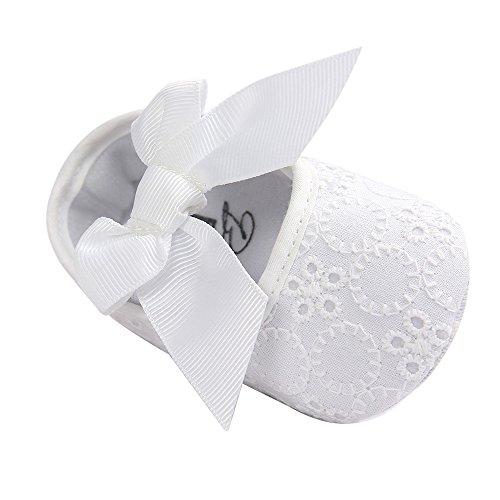 Lacofia Zapatos de Bautizo con Suela Suave Antideslizante Princesa Arco de bebé niñas Blanco 6-12...