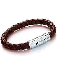 Tribal Steel Herren-Armband Edelstahl Leder 22 cm AM004brn_22