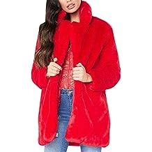 MISSMAOM Abrigo Calentar con Manga Larga para Mujer de Invierno de Piel  Sintética de Pelo Chaqueta 3438ac6cc3a84