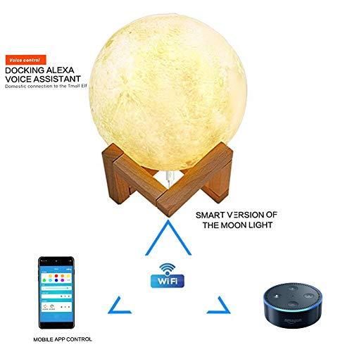 Mond Lampe, Queta Neueste Wifi Intelligent LED Nachtlicht 3D Mondlicht 15cm Dimmbare Touch Nachtlampe Nachtlichter Schlaflicht Dekoleuchte für Schlafzimmer, Wohnzimmer, Geschenk