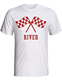 UKSoccershop River Plate Waving Flags T-Shirt (White) - Kids
