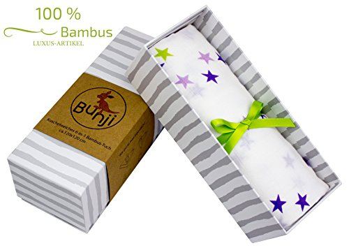 **LIMITED EDITION** Luxus Spuck- & Pucktuch in hochwertiger Geschenkbox. Mit gratis E-Book. 100 % kuschelweiche Bambusviskose, 120 x 120 cm. Perfekt für den Sommer. Sehr beliebtes Geschenk zur Geburt!