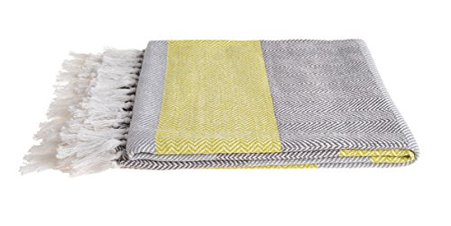 Sofa Throw Allure Aurora Herringbone Stripe Throws for Settee, Chair or Bed 125 x 150cm in Lime & Blue – Picnic Blanket