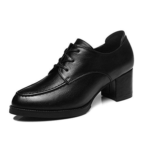 Khskx-stilettos Drop Chaussures Version Coréenne Du Documentaire Avec De Grandes Chaussures Petites Chaussures De Cuir Noir Alls All Automne Chaussures D'automne Trente-quatre Noir Trente-cinq