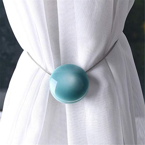 RXX Katzenauge Harz Raffhalter Vorhang Clips Magnetvorhangschnalle mit Magnetvorhanggurten wohnzimmerfreie Montage stanzfrei, Mehrfarbig optional,Blue